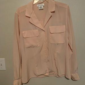 EUC Christian Dior button down blous- light pink